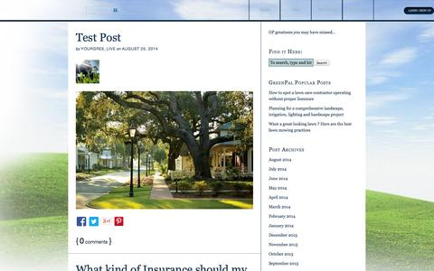 Screenshot of Blog yourgreenpal.com - GreenPal Blog — Lawn and Landscape tips from the pros - captured Sept. 16, 2014