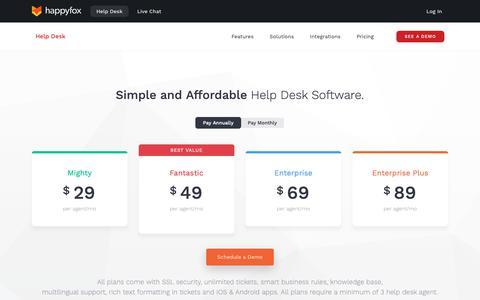 Screenshot of Pricing Page happyfox.com - Help Desk Software Pricing & Plans | Affordable online help desk solution - captured May 16, 2019