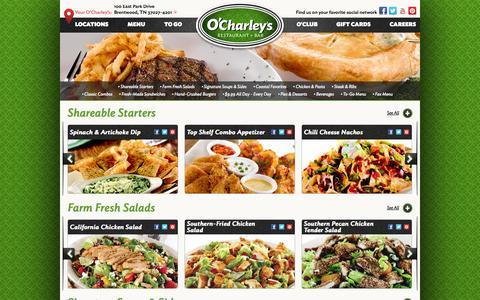 Screenshot of Menu Page ocharleys.com - O'Charley's - Menu - captured Oct. 27, 2014