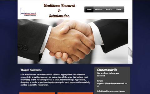 Screenshot of Home Page healthcomresearch.com - Healthcom Research And Solutions - captured Oct. 2, 2014