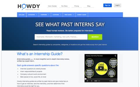 Screenshot of Home Page howdyon.com - Howdy | Insightful Internship Guides - captured Sept. 30, 2014