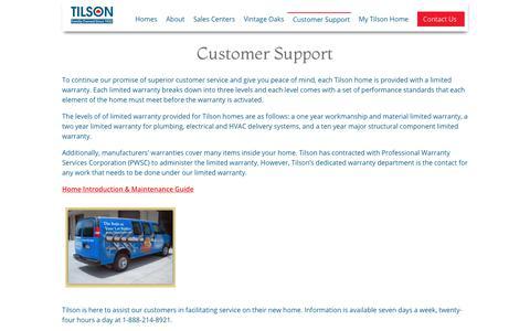 Screenshot of Support Page tilsonhome.com - Customer Support | Tilson Homes - captured Nov. 10, 2018