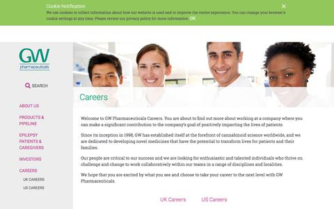 Screenshot of Jobs Page gwpharm.com - Careers | GW Pharmaceuticals, plc - captured March 20, 2018