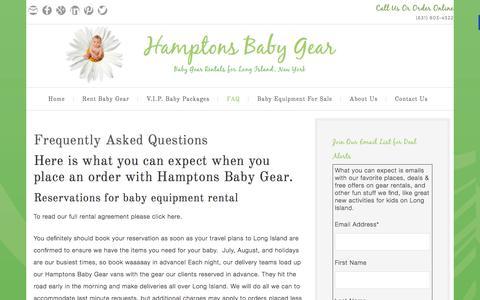 Screenshot of FAQ Page hamptonsbabygear.com - Frequently Asked Questions - Hamptons Baby Gear - captured Dec. 7, 2015