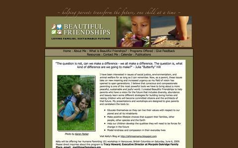 Screenshot of Home Page beautifulfriendships.net - Humane Education - Humane Parenting - Human Rights - Consumerism - Beautiful Frienships - captured Jan. 27, 2015