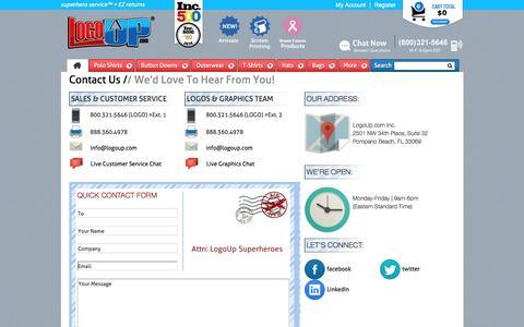 Screenshot of Contact Page logoup.com - Contact Us - captured Nov. 11, 2016