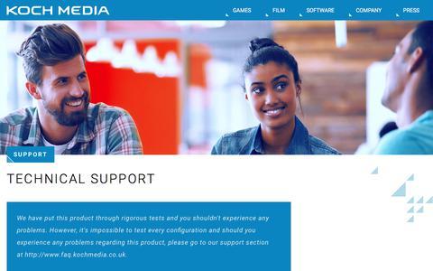 Screenshot of Support Page kochmedia.com - Koch Media | Support - Koch Media - captured July 11, 2017