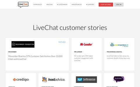 Screenshot of Case Studies Page livechatinc.com - Customer Success Stories | LiveChat - captured Aug. 31, 2016