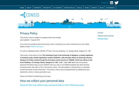 Screenshot of Privacy Page censis.org.uk - Privacy Policy | CENSIS - captured Sept. 25, 2018