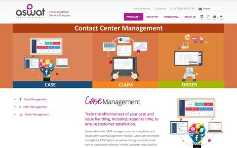 Screenshot of Products Page aswat-telecom.com - Contact Center Management - Contact Center Software - captured Feb. 6, 2016