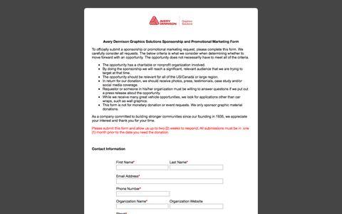 Screenshot of Landing Page averydennison.com - NA Graphics - Avery Dennison Sponsorship Form - captured Nov. 29, 2017