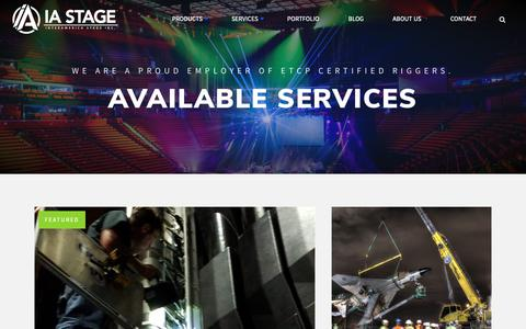 Screenshot of Services Page iastage.com - Specialty Stage Equipment | IA Stage Services - captured Oct. 12, 2018