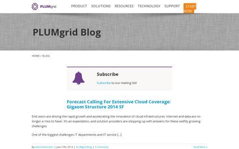 Screenshot of Blog plumgrid.com - PLUMgrid   –  Blog - captured July 18, 2014