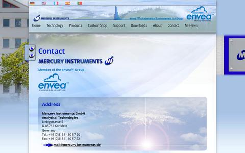 Screenshot of Privacy Page Contact Page mercury-instruments.com - Mercury Instruments | Contact | Imprint - captured June 30, 2018