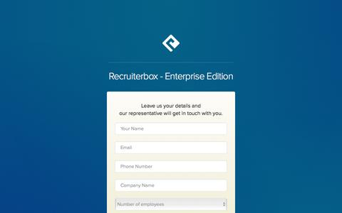 Screenshot of Landing Page recruiterbox.com - Recruiterbox - Enterprise Edition - captured Aug. 17, 2016
