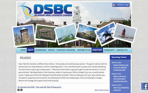 Screenshot of Testimonials Page dsbchamber.com - Praises | Delaware Small Business Chamber - captured Oct. 5, 2014