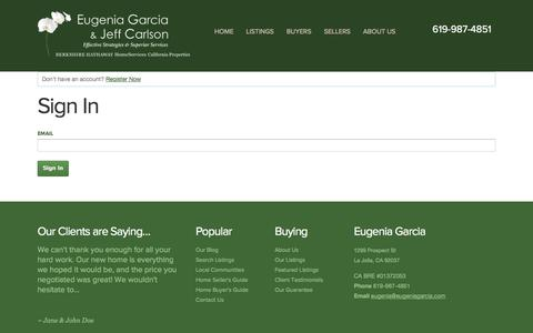 Screenshot of Login Page eugeniagarcia.com - Sign In - captured Oct. 1, 2014
