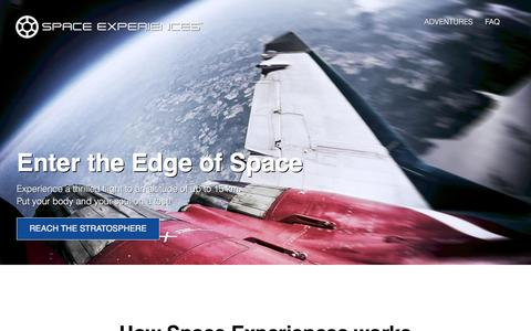 Screenshot of Home Page space-experiences.com - Space Experiences - captured Oct. 3, 2016
