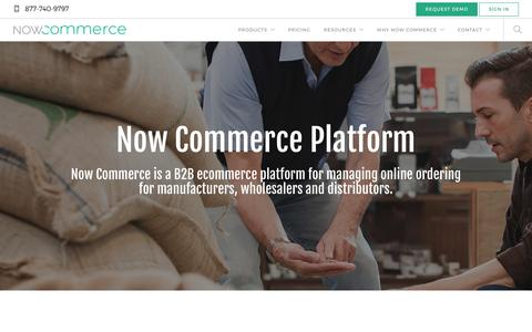 Screenshot of Products Page nowcommerce.com - B2B Ecommerce Platform for QuickBooks - Now Commerce - captured July 22, 2016