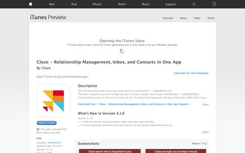 Screenshot of iOS App Page apple.com - Cloze - Relationship Management, Inbox, and Contacts in One App on the App Store - captured Nov. 14, 2015