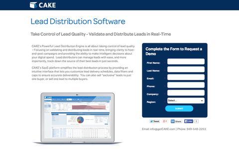 Screenshot of Landing Page getcake.com - Lead Distribution Software | CAKE - captured Oct. 27, 2014