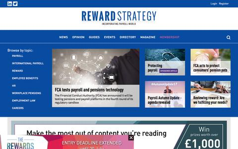 Screenshot of Home Page reward-strategy.com - Reward Strategy - News - captured July 11, 2018