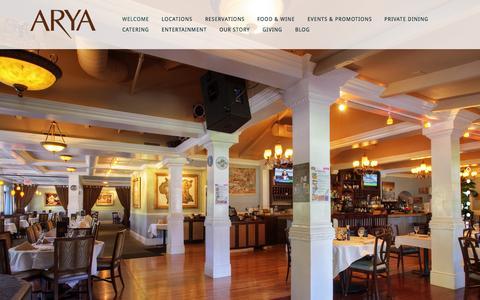Screenshot of Home Page aryarestaurant.com - Arya Global Cuisine - captured June 18, 2015