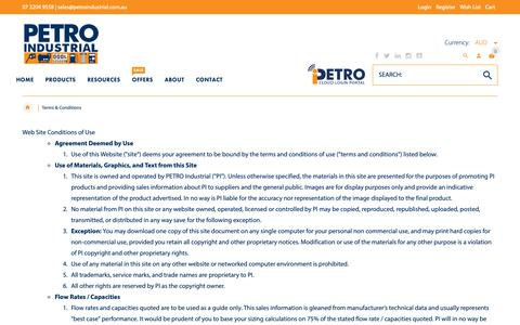 Screenshot of Terms Page petroind.com - Terms & Conditions   PETRO Industrial - captured Sept. 26, 2018