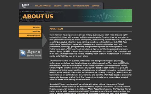 Screenshot of Team Page apexperform.com - Apex Performance Our Team - Apex Performance - captured Oct. 4, 2014