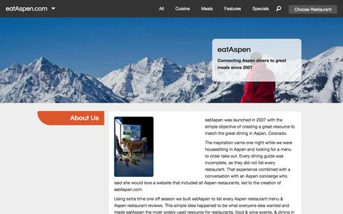 Screenshot of About Page eataspen.com - About Us | eatAspen - captured Oct. 22, 2016