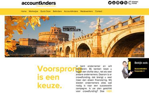 Screenshot of Home Page accountanders-crowdfunding-solutions.nl - AccountAnders Crowdfunding Solutions - captured Jan. 9, 2018