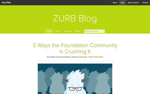 Screenshot of Blog zurb.com - Interaction Design and Design Strategy by ZURB - captured Oct. 26, 2014