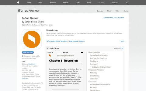 Screenshot of iOS App Page apple.com - Safari Queue on the App Store on iTunes - captured Dec. 17, 2014