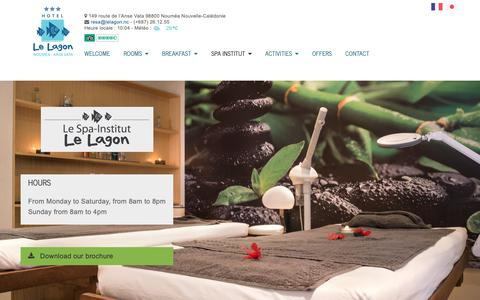 Screenshot of Services Page Hours Page lelagon.nc - SPA INSTITUT - Hôtel Le Lagon Nouméa - captured Oct. 28, 2018