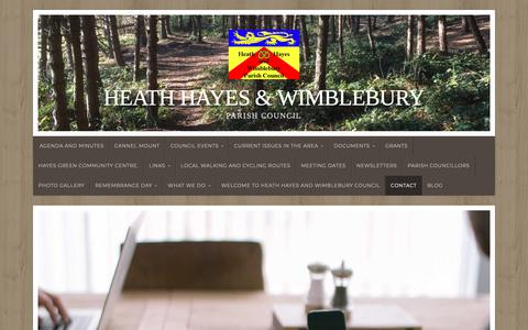 Screenshot of Contact Page wordpress.com - Contact – Heath Hayes  & Wimblebury - captured Oct. 26, 2018