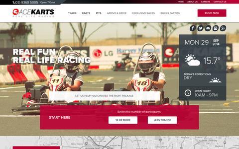 Screenshot of Home Page acekarts.com.au - Ace Karts - Outdoor Go Karting Track Sunshine, Melbourne - Ace Karts - captured Sept. 30, 2014