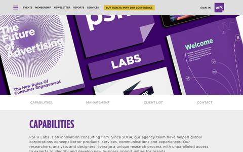 Screenshot of Services Page psfk.com - consulting - PSFK - captured May 13, 2017