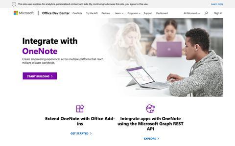Screenshot of Developers Page microsoft.com - OneNote Dev Center - captured Nov. 7, 2018
