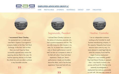 Screenshot of Testimonials Page eaglawgroup.com - TESTIMONIALS | United States | Employer Advocates Group LC (EAG) - captured Sept. 28, 2018