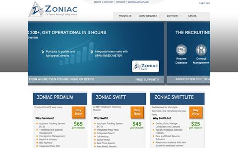 Screenshot of Products Page zoniac.com - End-to-End Recruiting & Staffing Solution - captured Dec. 11, 2016