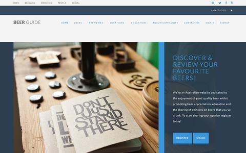 Screenshot of Home Page beerguide.com.au - Australian & International Beer Reviews - captured Jan. 27, 2015