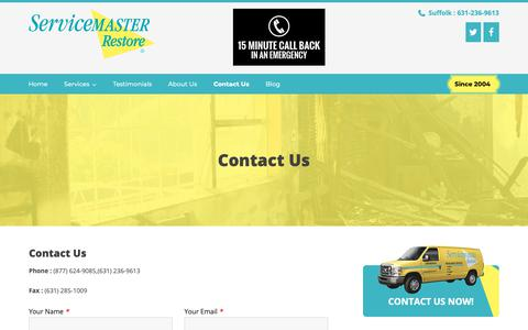 Screenshot of Contact Page servicemasterbyar.com - Contact Details | ServiceMaster By American Restoration Services, Inc. - captured May 5, 2019