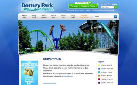 Screenshot of Hours Page dorneypark.com - Dorney Park | Dorney Park, Lehigh Valley PA - captured Sept. 19, 2014