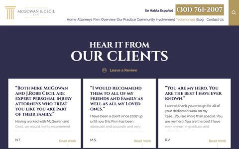 Screenshot of Testimonials Page lawmcs.com - Laurel Injury Lawyers | Testimonials - captured Oct. 17, 2018