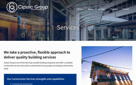 Screenshot of Services Page classicgroup.com.au - Services – Classic Group - captured July 18, 2018