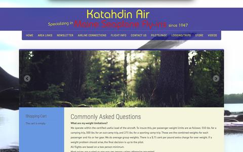 Screenshot of FAQ Page katahdinair.com - Flight Information For Katahdin Air Service, Millinocket, Maine - captured June 22, 2016