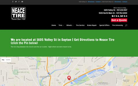 Screenshot of Maps & Directions Page daytonusedtires.com - Directions Neace Tire - captured Feb. 16, 2016