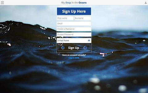 Screenshot of Signup Page mydropintheoceans.org - My Drop In The Oceans | Sign Up - captured Aug. 17, 2016