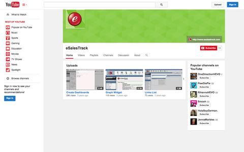 Screenshot of YouTube Page youtube.com - eSalesTrack  - YouTube - captured Oct. 23, 2014