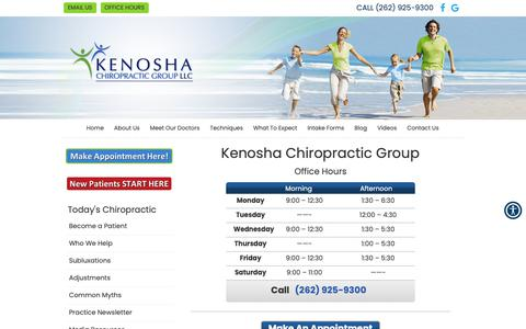 Screenshot of Hours Page kenoshachiropracticgroup.com - Hours | Kenosha, WI | Kenosha Chiropractic Group - captured Oct. 15, 2018